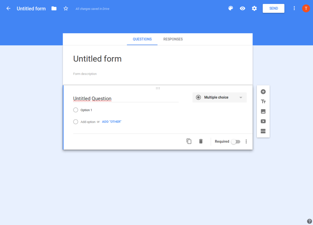 Screenshot of Google Forms