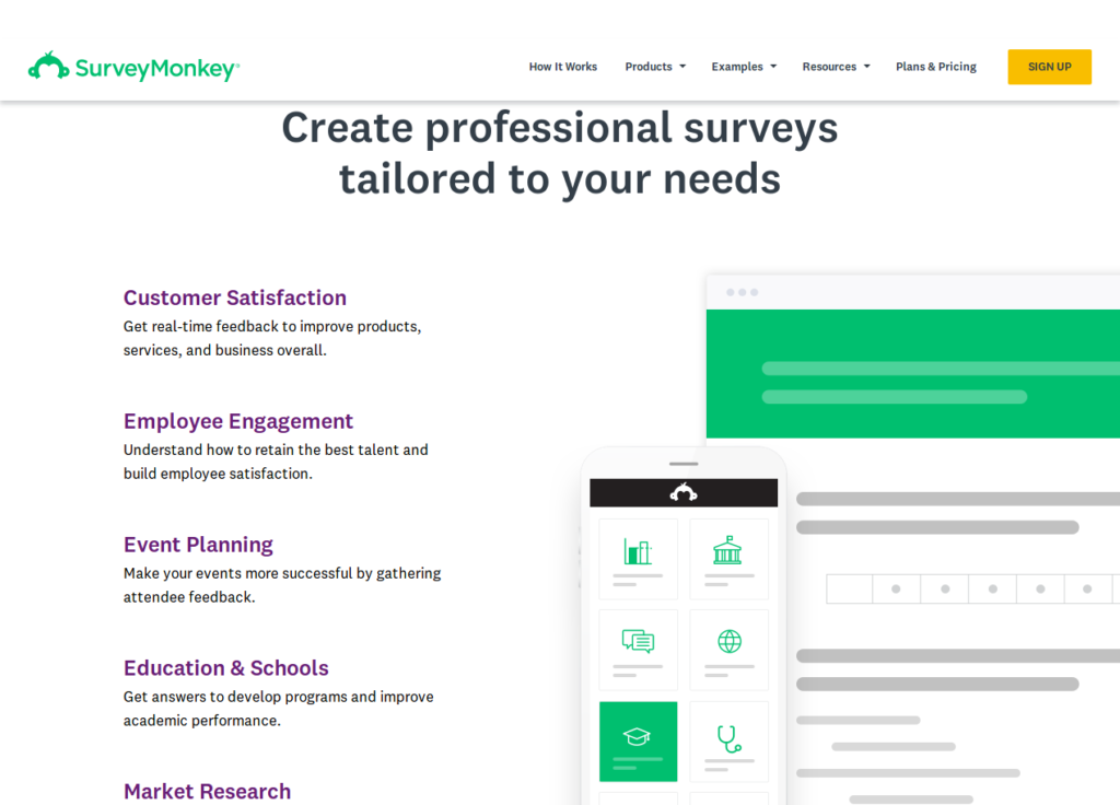 Screenshot of SurveyMonkey.com