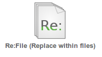 "Logo for Re:File tool and text ""Replace in Files"""