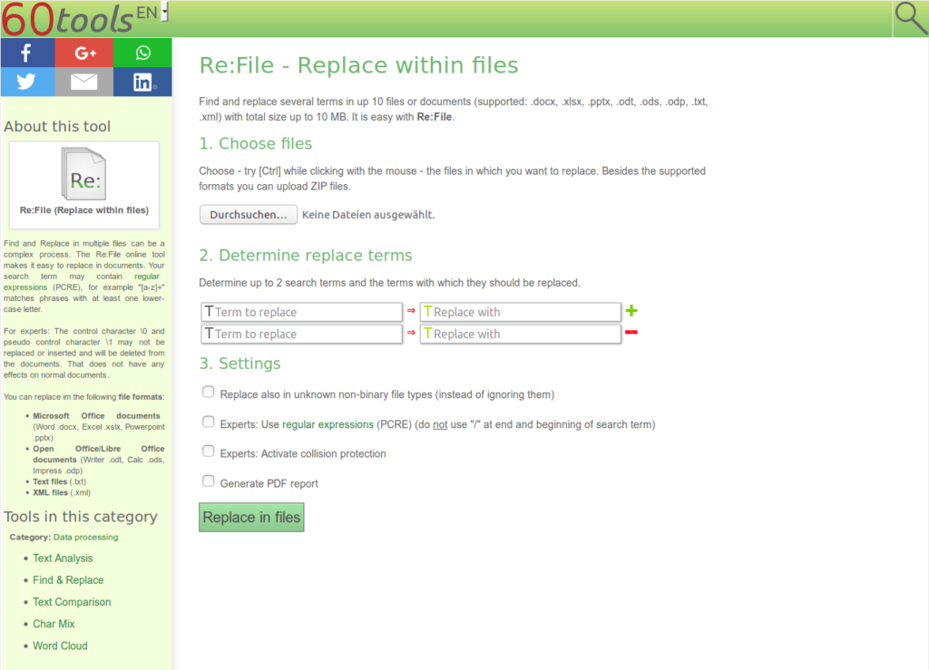 Screensho of the Online Tool Re:File